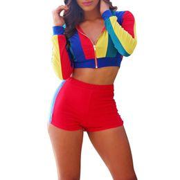2pcs Survêtements Femmes Sexy À Manches Longues Zip Crop Tops Pantalon Taille Élastique Moulante Sweats À Capuche Survêtement Slim Fit Shorts Pants ? partir de fabricateur