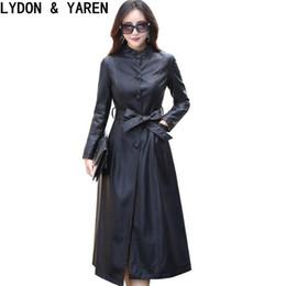 2017 nuove donne trench in pelle primavera primavera autunno moda donna giacche in pelle lungo monopetto costumi più dimensioni da maniche in pelle con giacca da uomo fornitori