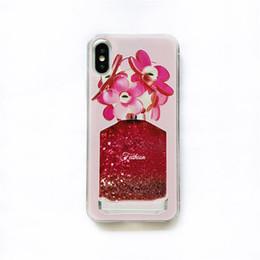 Vasi di telefono online-Cartoon Flower Bottiglia di profumo Quicksand Dynamic Liquid Glitter Custodia per iPhone XS MAX XR XS 6 7 8 Plus Custodia per vaso per Iphone X 8 Custodia