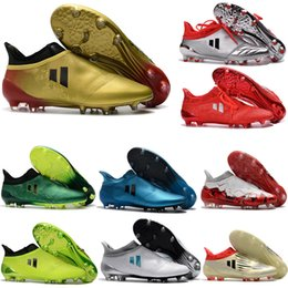 Wholesale Authentic Soccer - 2018 ACE 17 + Purecontrol Mens Soccer Shoes Laceless X 16 Purechaos FG AG Cheap Soccer Cleats Authentic Football Boots Original Messi Shoes