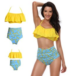 Wholesale new look fashion dress - Fashion New Mother and Daughter Mommy Me Swimwear Bikini Family Look Summer Matching Clothes Outfits Mom Mum Dresses Women Sister