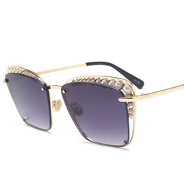0da444a7a5 Hindfield Beautiful Pearl Gafas de sol Mujer Moda Gafas de sol de lujo  Female Rectangle Retro Glasses