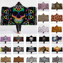 leopard ponchos Coupons - Skull Leopard Bath Hoodied Blanket For Animal Towel Children Adult Blouses Blanket Warm Wrap Shawl Cape Poncho Coat HH7-1693