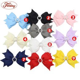 Wholesale Rhinestone Bow Center - 10pcs 4'' Diamond Fashion Hair Bow Clips Hairbow With Rhinestone Center Girls Children Hot Solid Hairpins Hair Accessory Mixed 10 Colors