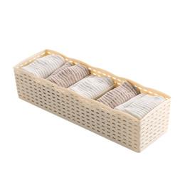 Wholesale Desktop Drawers - 1pcJapanese-style 5 Grids Socks Underwear Drawer Classified Storage Box Finishing Cosmetic Desktop Plastic Box Organizer