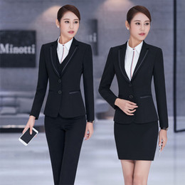 Wholesale Beauty Salon Wear - New Fashion Formal Professional Long Sleeve Blazers Pantsuits For Ladies Office Work Wear Beauty Salon Spring Summer Outfit