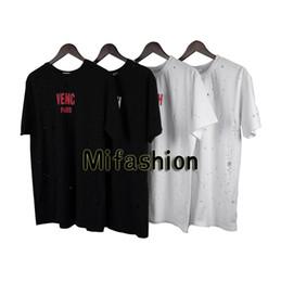 Wholesale Women Fashion Long T Shirt - 18ss Summer Europe Paris Fashion Men Luxury Broken Hole Pure Cotton Tshirt Casual Women Tee T shirt 4 Colors