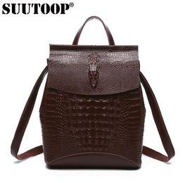 Wholesale Anti Thief Bag - SUUTOOP crocodile pattern women genuine leather backpack for girl anti-thief travel bags female dailypack school preppy bag