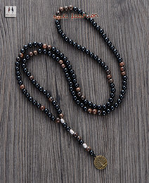 подвеска на дерево для мужчин  Скидка Men Necklace Quality 6MM Black Agate Wood  with Tree Pendant Mens Rosary Necklace Wooden  Mens jewelry