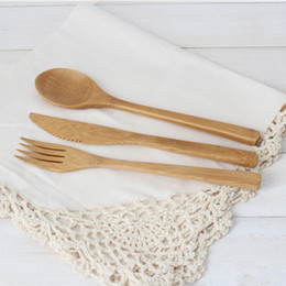 Wholesale Wholesale Bamboo Dinnerware - New Arrival Bamboo Tableware 30pcs (10 Set )100% Natural Bamboo Spoon Fork Knife Set Wooden Dinnerware