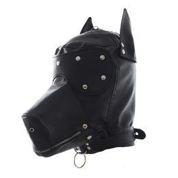 Máscara de perro negro online-Faux Leather Fetish Dog Mask Sexy Head realista Bondage Hood Negro Animal Dog Sex Mask Juegos para adultos Disfraces de Halloween Sexy S19706