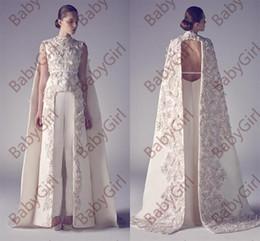 Wholesale Best Custom Made Shirts - Arabic High Neck Cowl Backs Applique Sheath Pageant Split Front lace dress backless Best dress For Wedding