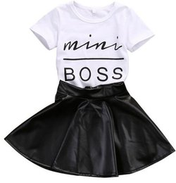 Wholesale Toddler Skirt Suit - New Fashion Toddler Kids Girl Clothes Set Summer Short Sleeve Mini Boss T-shirt Tops + Leather Skirt 2PCS Outfit Child Suit