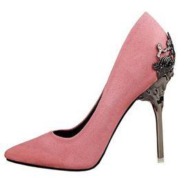 Экстремальные 10 см розовый обувь женщина высокий каблук насосы женский стадо острым носом Hakken фетиш металл шпильках каблуки Женская обувь Scarpins обувь cheap ladies flock heels от Поставщики дамы толстые каблуки