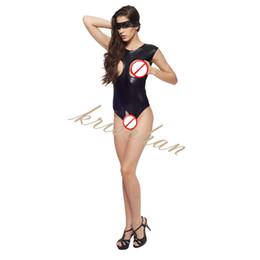 Busto abierto de cuero online-Body de cuero de la PU Open Bust Crotch Erotic Clubwear para Mujeres Arnés del cuerpo BDSM Bondage Restricciones Sex Toys Productos