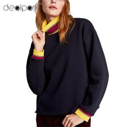 Wholesale Tracksuit Fleece Girls - Women Hoodies Sweatshirt Contrast Turtleneck Long Sleeve Fleece Tops female Casual Tracksuit Pullover Streetwear Girls Dark Blue
