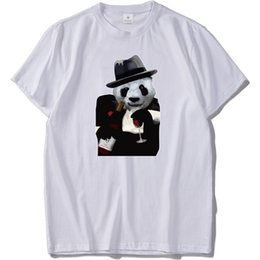 2019 corti tuxedo t-shirt Panda con T-Shirt da uomo Magliette classiche da uomo in cotone Slouchy Camicia a maniche corte O-Collo Maglietta divertente Homme corti tuxedo t-shirt economici