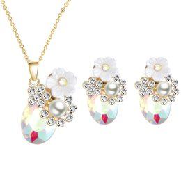 collana di fiori di ciliegio Sconti Warmhome Trendy Smalto Smalto Rame Fashion Shell Cherry Blossoms Fiori Gemme Perle Collana Orecchini Donna Set di gioielli