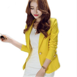 Wholesale Long Sleeved Blazer - New Long-Sleeved Slim Women Blazers And Jackets Small Suit Korean Version Slim (Green Yellow Black) Blazer Femme H306