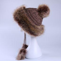 Wholesale Fur Ushanka - Faux Fox Fur Ushanka Russain Cossack Fluffy Pompom Bomber Hats Earflap Female Winter Snow Ski Caps Trapper Aviator Cap