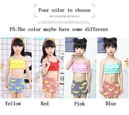 Wholesale Red Bananas - Children's swimwear Two-Pieces girls split banana cute sweet children skirt baby swimwear Fashion Swimming Clothes For Girls