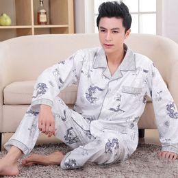 0beb9b3794 Men s Pajamas Spring Autumn Long Sleeve Sleepwear Cotton Plaid Cardigan Pyjamas  Men Lounge Pajama Sets Plus size Chinese Dragon