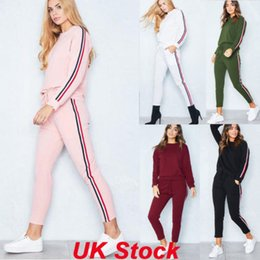 Wholesale Uk Pullover - UK Womens 2 PCS Tracksuits Set Ladies Striped Active Sport Loungewear Size 6-16