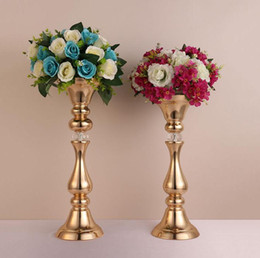 tall candle holder centerpieces Coupons - NEW Gold flower rack 45 50 cm tall candle holder wedding table centerpieces vase decoration event party road lead SN1761