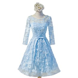 Wholesale Portrait Photos - 2018 Sky Blue Lace Homecoming Dresses Knee Length Full Sleeves Formal Party Gowns Bow Graduation Dresses