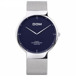 Wholesale Thinnest Waterproof Mens Watch - DOM watches Mens Watch male fashion belt men's Nordic simple two thin needle business waterproof Quartz Wrist