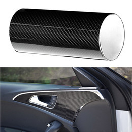 Wholesale carbon fiber auto wrap - 6D Shiny Black High Gloss Auto Sticker Sheet Smooth Carbon Fiber Pattern Car Film Wrap Decal for automobile roofs trunk