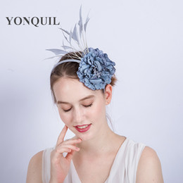 Wholesale Black Ivory Fascinator - Artificial Flowers Silk flower hairband headbands For Heads fascinator hat Wedding Decoration Floral hair Accessories grey Bridal Hat SYF170