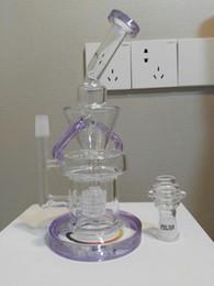 pipe à impulsions Promotion Bongs en verre à 2 fonctions Pipes à eau en verre massif à impulsions violettes Klein Recycler Plateformes pétrolières Bong Hookahs 2 fonctions Bulbler à bulles 14 mm Nail