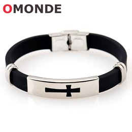 Wholesale Lucky Bracelets For Men - New Arrival Stainless Steel Black Silicone Jesus Cross Bracelets God Blessing Christian Crucifix Bangle for Men Lucky Jewelry