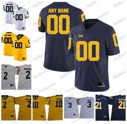 Золотой футбол джерси онлайн-Пользовательские NCAA Мичиган Росомахи колледж футбол персонализированные любое имя номер Брэди Вудсон Паттерсон Говард трикотажные изделия S-3XL белый темно-синий золото