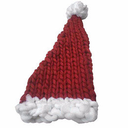 Wholesale Warm Santa Hat - Wholesale-Christmas Knitting Hat Santa Claus Hats Gift Wool Hat Warm Long Tail Handmade Hats For Boys Girls Children Kids Bonnet Hot New