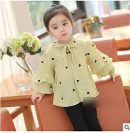 Wholesale Hearts Blouses - Children blouses Leisure Girls love hearts printed lace-up shirts 2018 Spring Kids falbala lantern sleeve single-breasted tops C2643