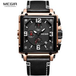 83f188fd0bd Megir Leather Strap Army Chronograph Quartz Wrist Watches Men Square Sports  Stop Watch Man Clock Relogios Masculino 2061 Rose inexpensive men watch  square ...