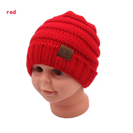 Wholesale Kids Golf Caps - kids winter keep warm cc beanie Labeling hats Wool knit skull designer hat outdoor sports caps for baby children kid 2018 fashion
