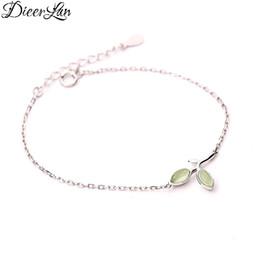 Wholesale 925 Opal Bracelet - New Arrivals 925 Sterling Silver Opal Leaf Bracelets & Bangles Fashion Bracelet For Women sterling-silver-jewelry