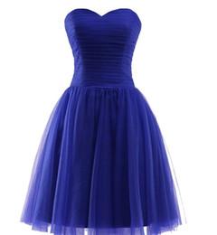 Mini vestidos de novia talla 12 14 online-Por encargo tul vestidos de dama de honor cortos La novia plisado sin mangas banquete vestido de fiesta más tamaño formal