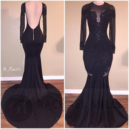 Wholesale Fall Evening Wear - 2018 Black Sheer Crew Neck Long Sleeves Satin Mermaid Evening Dresses Lace Applique Backless Sweep Train Formal Party Prom Wear Dresses
