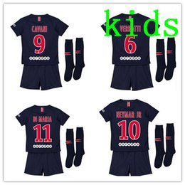 Wholesale home soccer jersey - 2018 2019 Paris kids kit soccer Jerseys 18 19 neymar jr mbappe home VERRATTI CAVANI DI MARIA MAILLOT DE FOOT child survetement psg SHIRT
