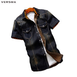 VERSMA 2017 Summer 100% Cotton Denim Casual Men Jean Shirt Short Sleeve  Slim Fit Cowboy Camisa Hombre Shirt Men Brand Clothing bdcb6ba2b85