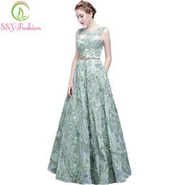 2019 vestido verde fresco O Banquete Elegante Vestido de Noite SSYFashion New Fresh Green Lace Mangas Comprimento Do Baile De Formatura Festa Formal Robe De Soiree desconto vestido verde fresco