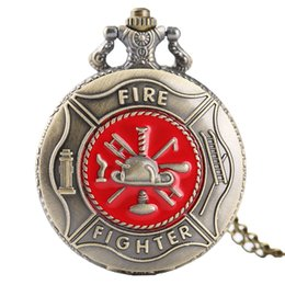 firefighter pendant Promo Codes - RED FIREFIGHTER POCKET WATCH Quartz Vintage Retro Analog Clock Necklace Pendant Firefighter Gift Relogio De Bolso Dropshipping