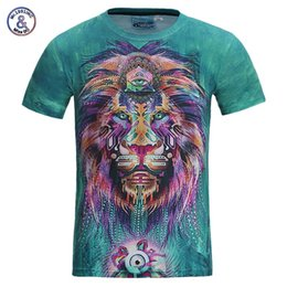 Wholesale Women Lion Printed Shirt - Mr .1991inc New Fashion Men  Women 3d T -Shirt Funny Print Colorful Hair Lion King Summer Cool T Shirt Street Wear Tops