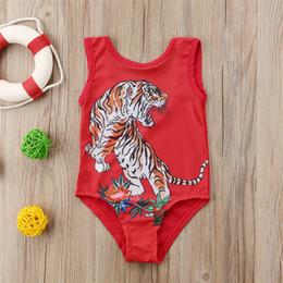 tigre um maiô Desconto Verão crianças do bebê meninas tigre vermelho swimwear maiôs de uma peça flor animal de natação terno de banho vestido de praia desgaste