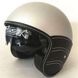 2019 capacete de motocicleta de face aberta xxl Nova Motocicleta Meio Capacete Cruiser 3/4 Rosto Aberto Scooter Vintage DOT + Viseiras + interior escuro lente Mate Preto XS S M L XL desconto capacete de motocicleta de face aberta xxl