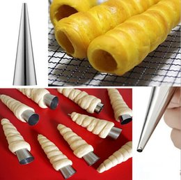 Wholesale Models Tubes - New DIY Baking Cones Stainless Steel Spiral Croissant Tubes Horn bread Pastry making mold tools Cake Mold baking supplies